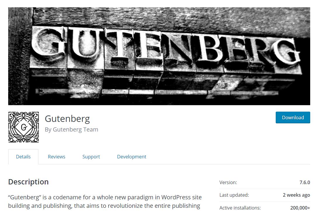 Gutenberg WordPress download page