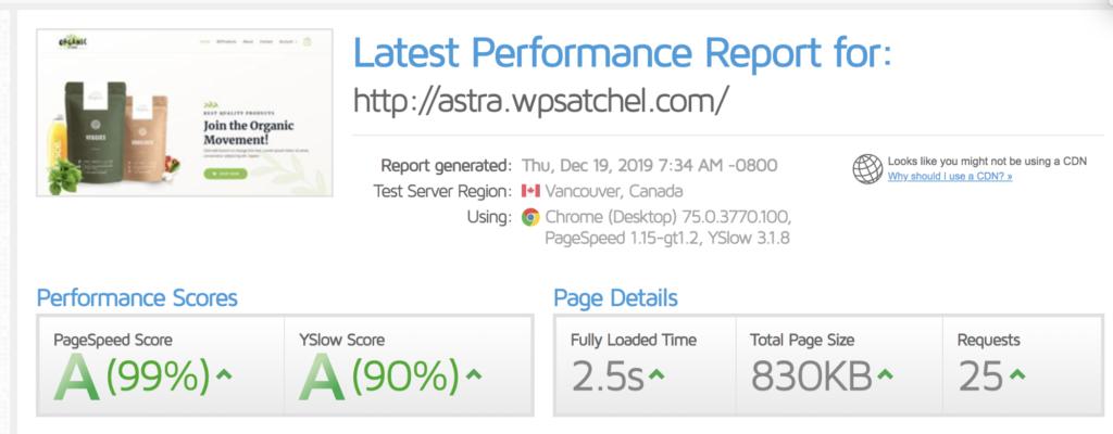 Astra speedtest result with WP rocket