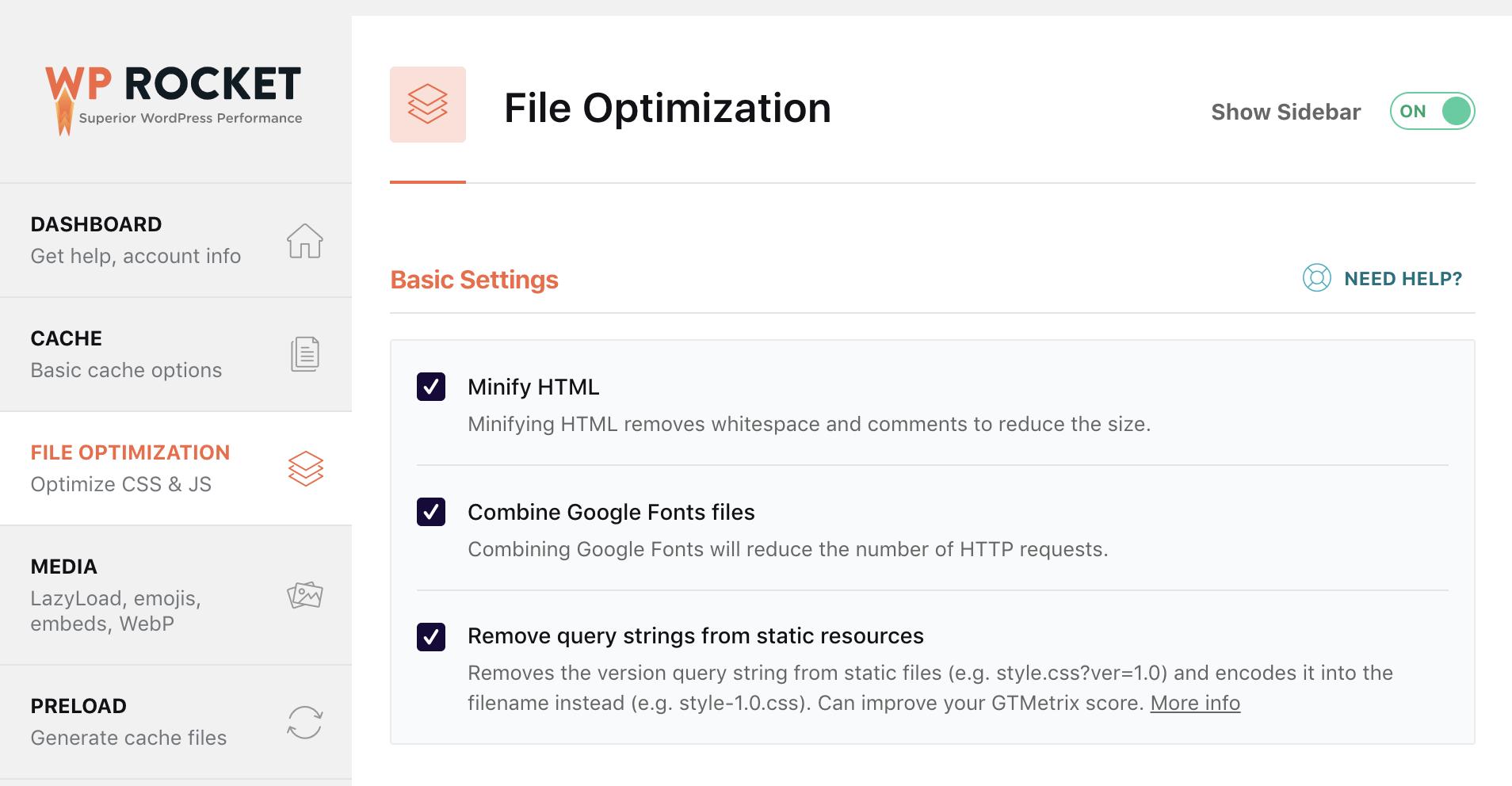 Page Caching File Optimization