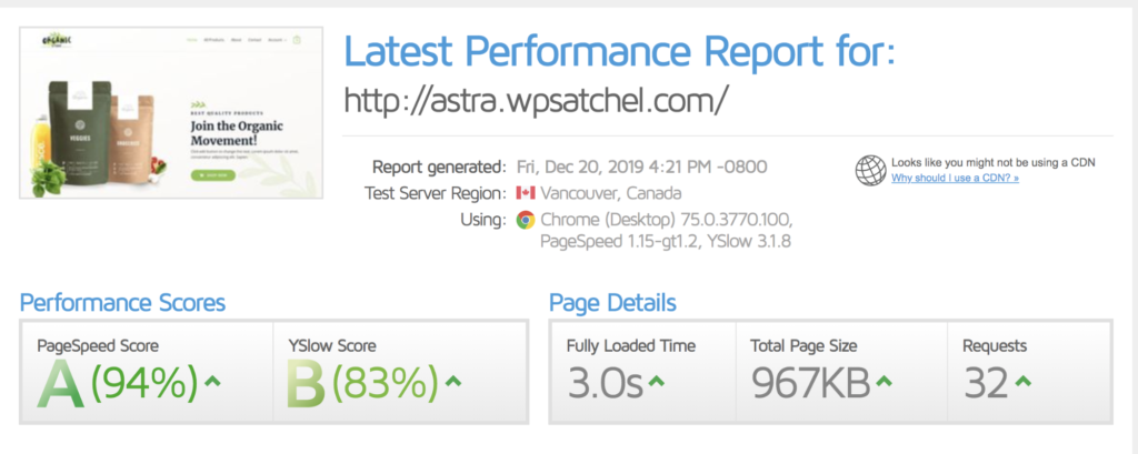 litespeed cache plugin speedtest results