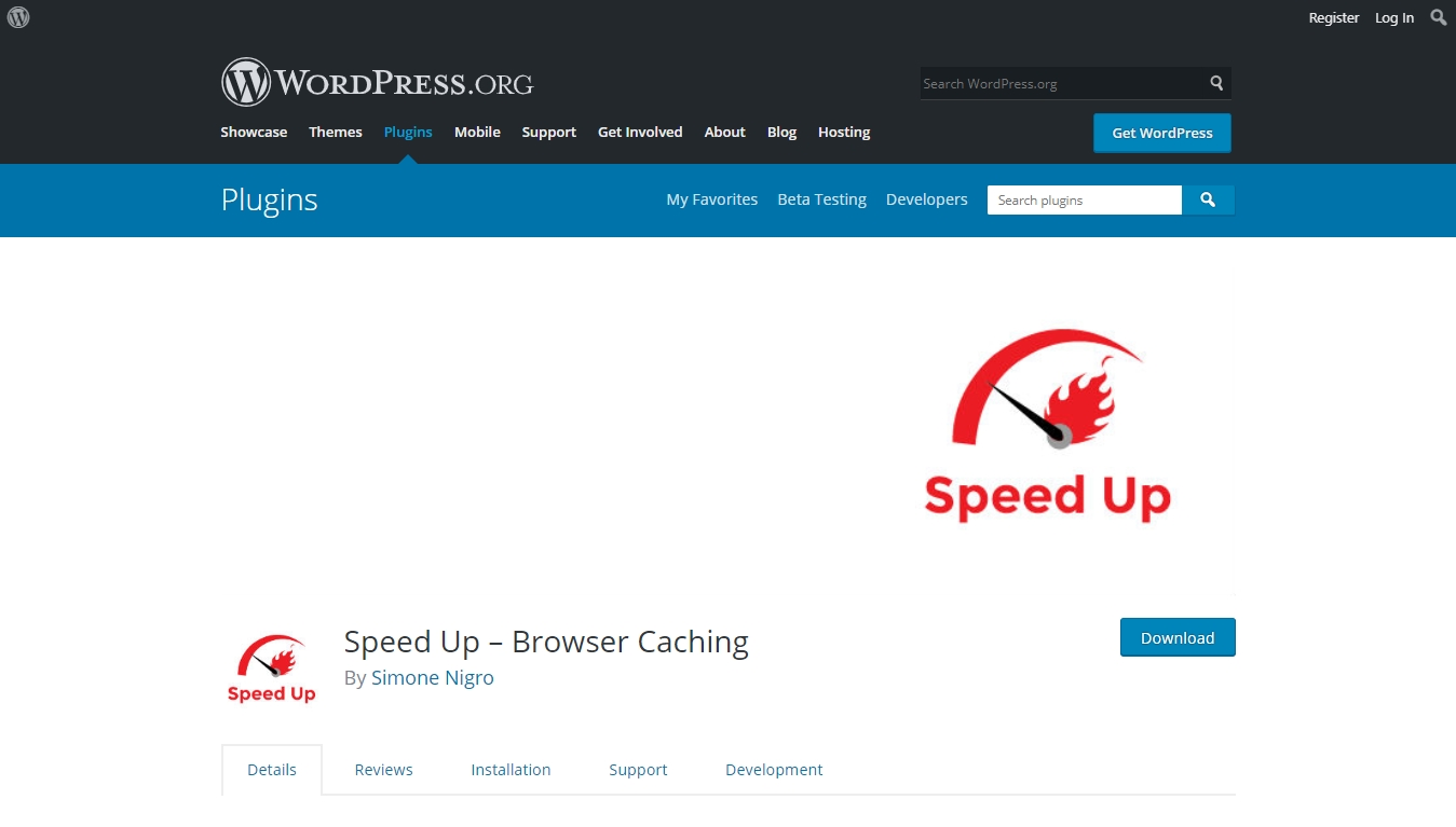 speedup browser caching plugin download page from wordpress.org