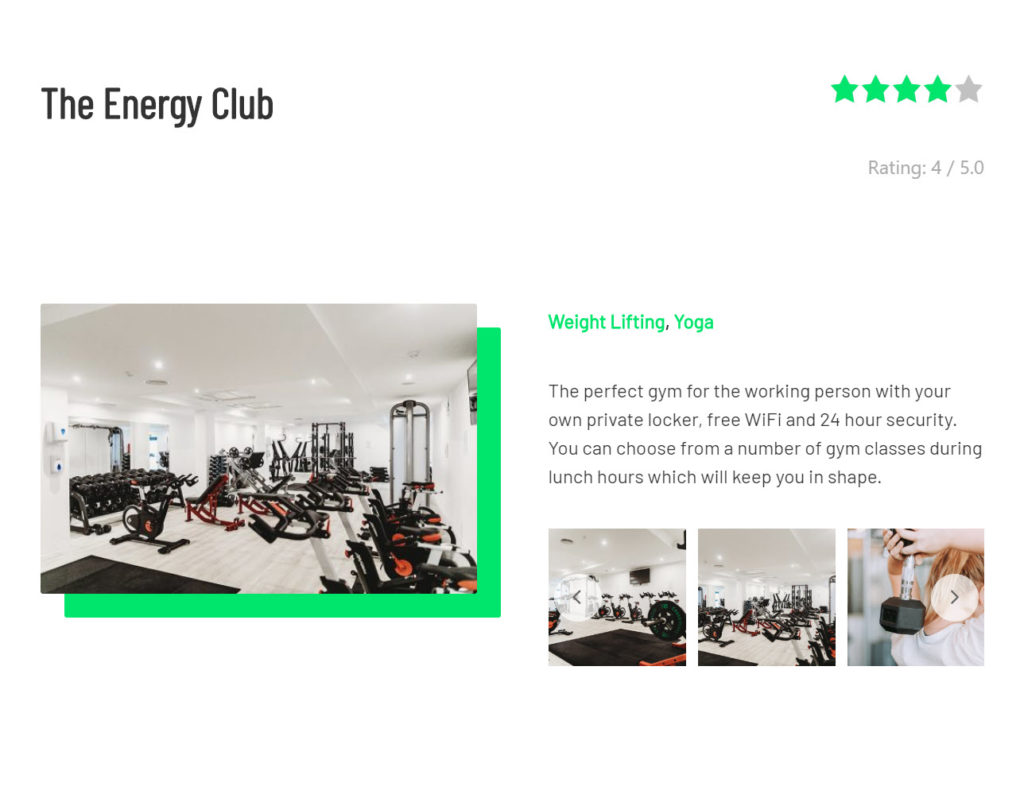 The energy club dynamic content sample