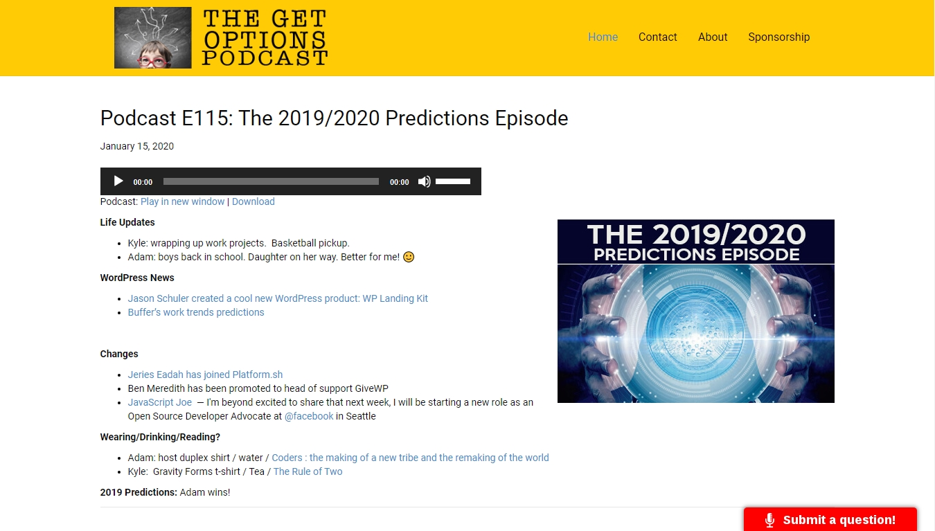 The Get Options Podcast homepage with the latest episode posted