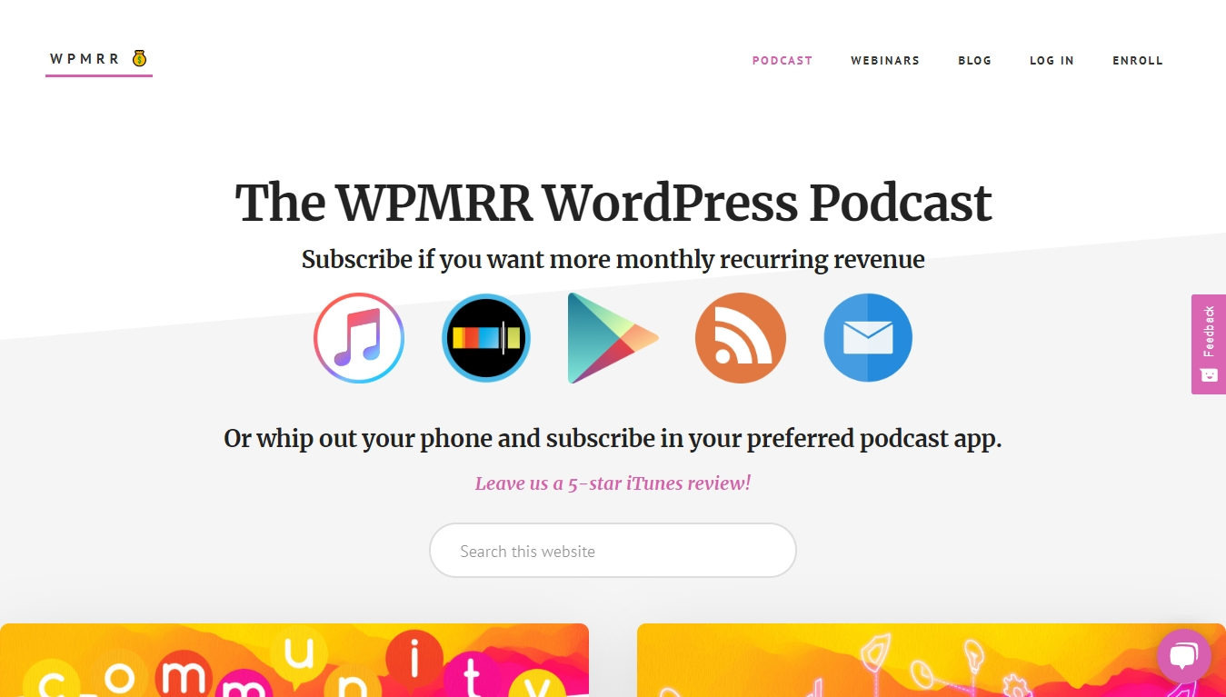 The WPMRR WordPress Podcast homepage with subscribe buttons
