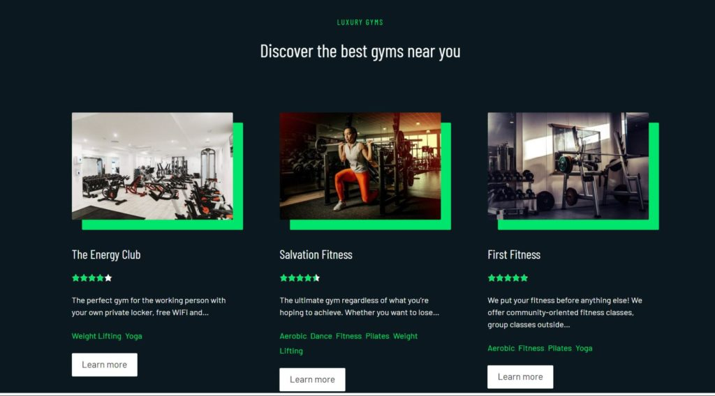 Toolset blocks demo website Luxury gyms