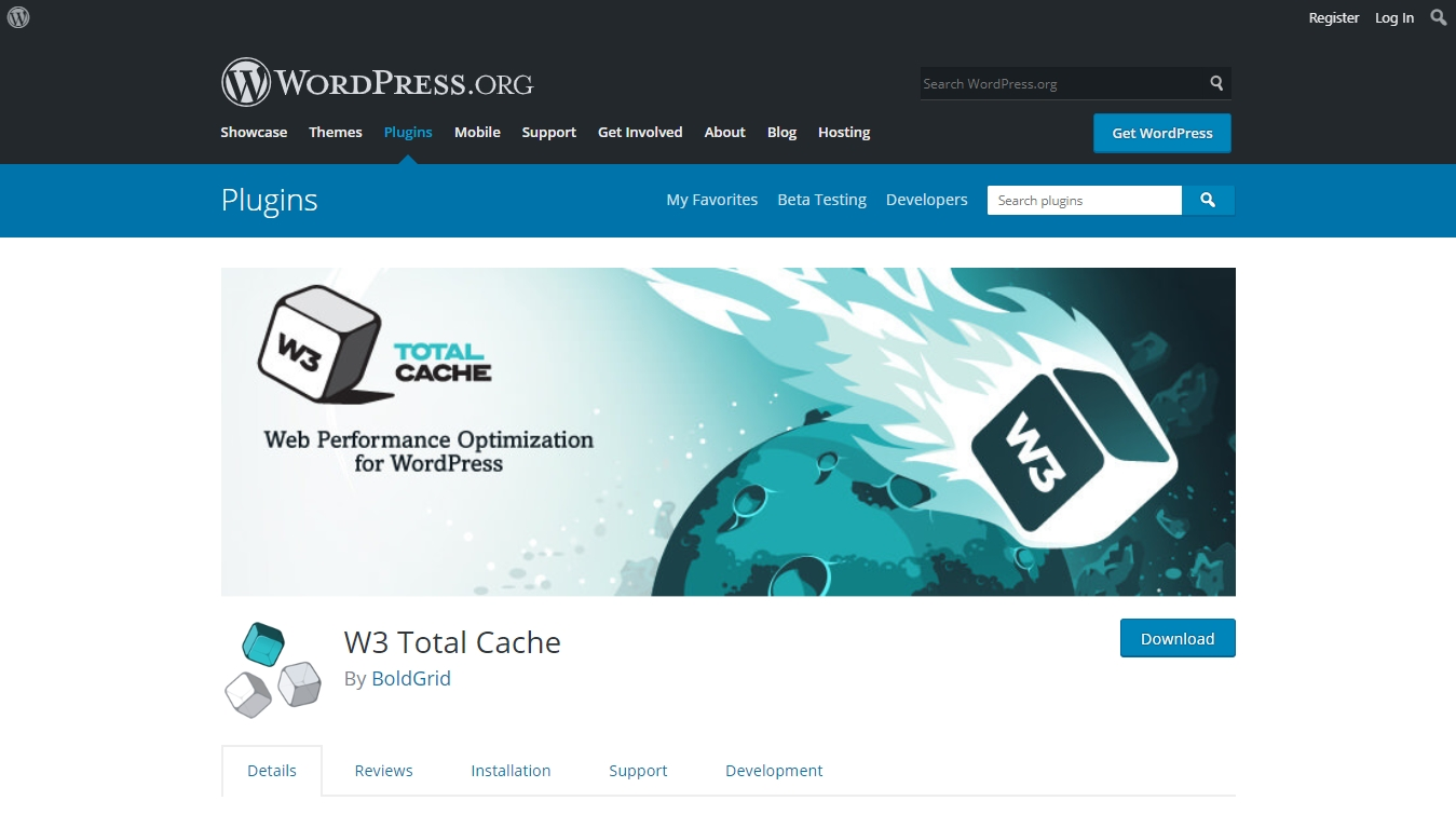 W3 Total Cache download page
