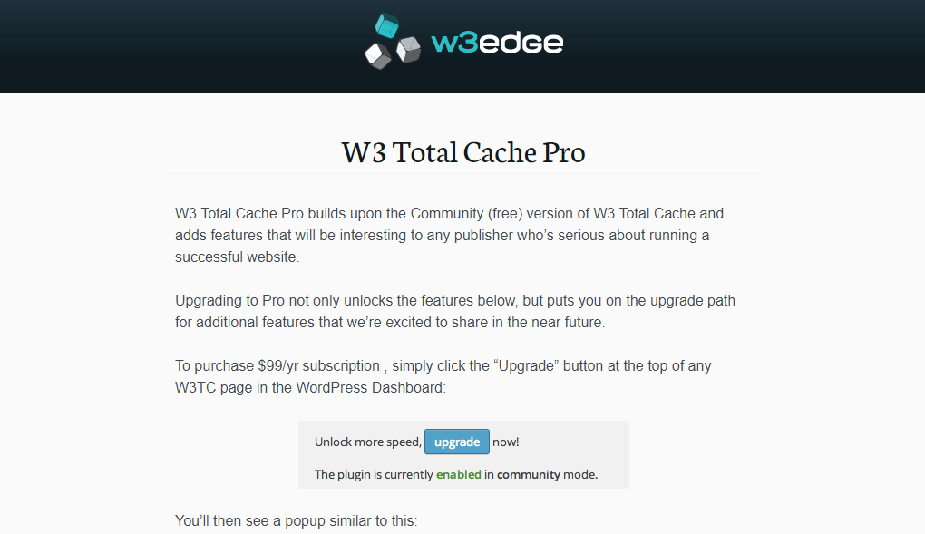 W3 Total Cache Homepage