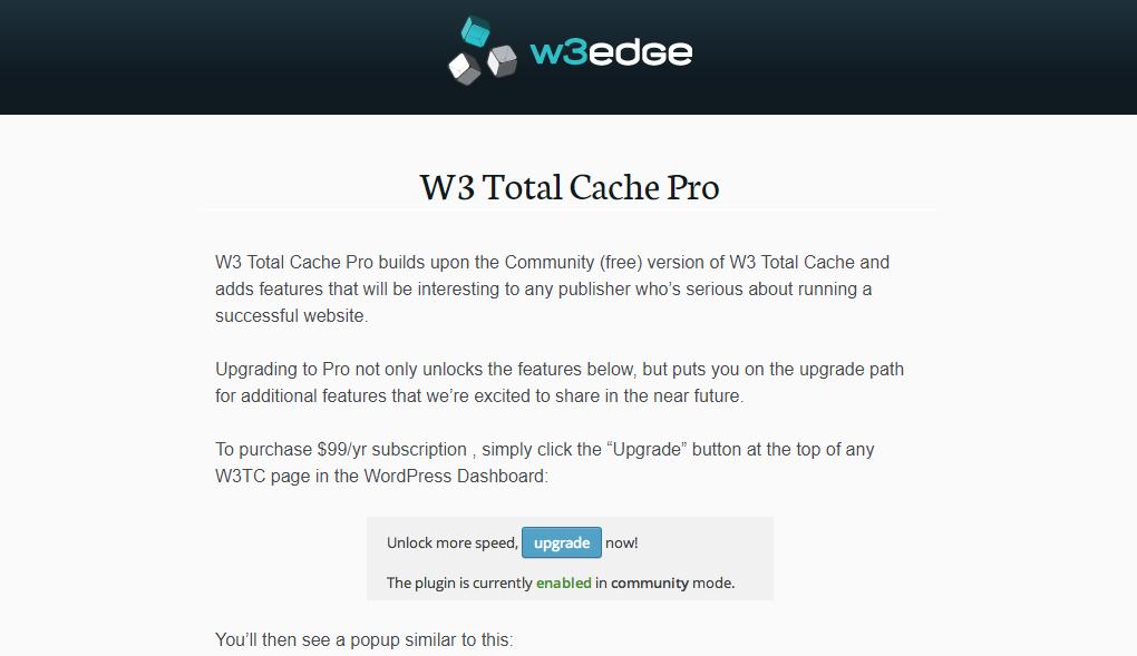 W3 Total Cache free plugin