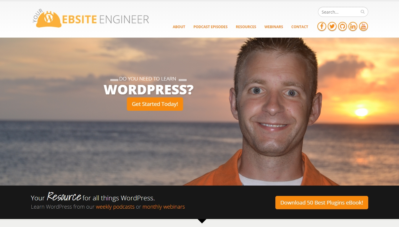 Your Website Engineer podcast homepage with get started today button