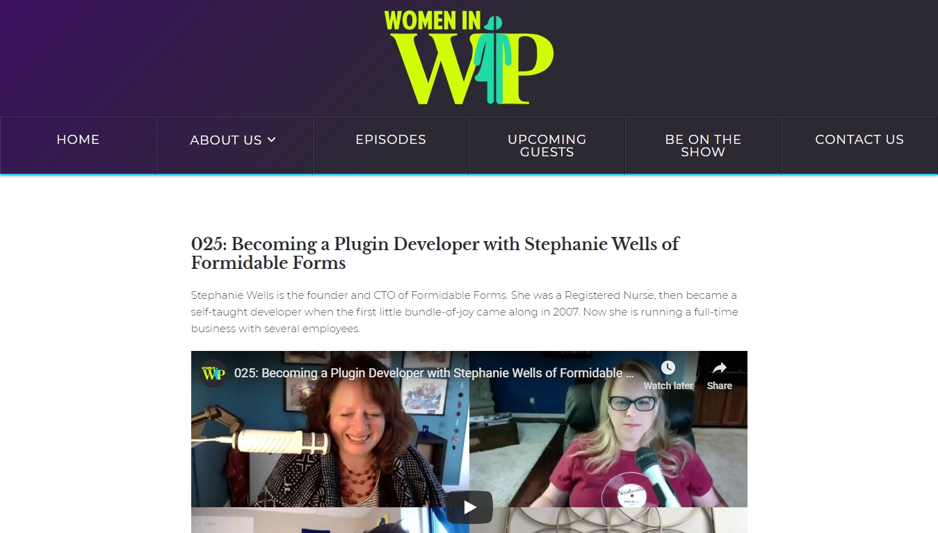 Women In WP podcast homepage with the latest episode post