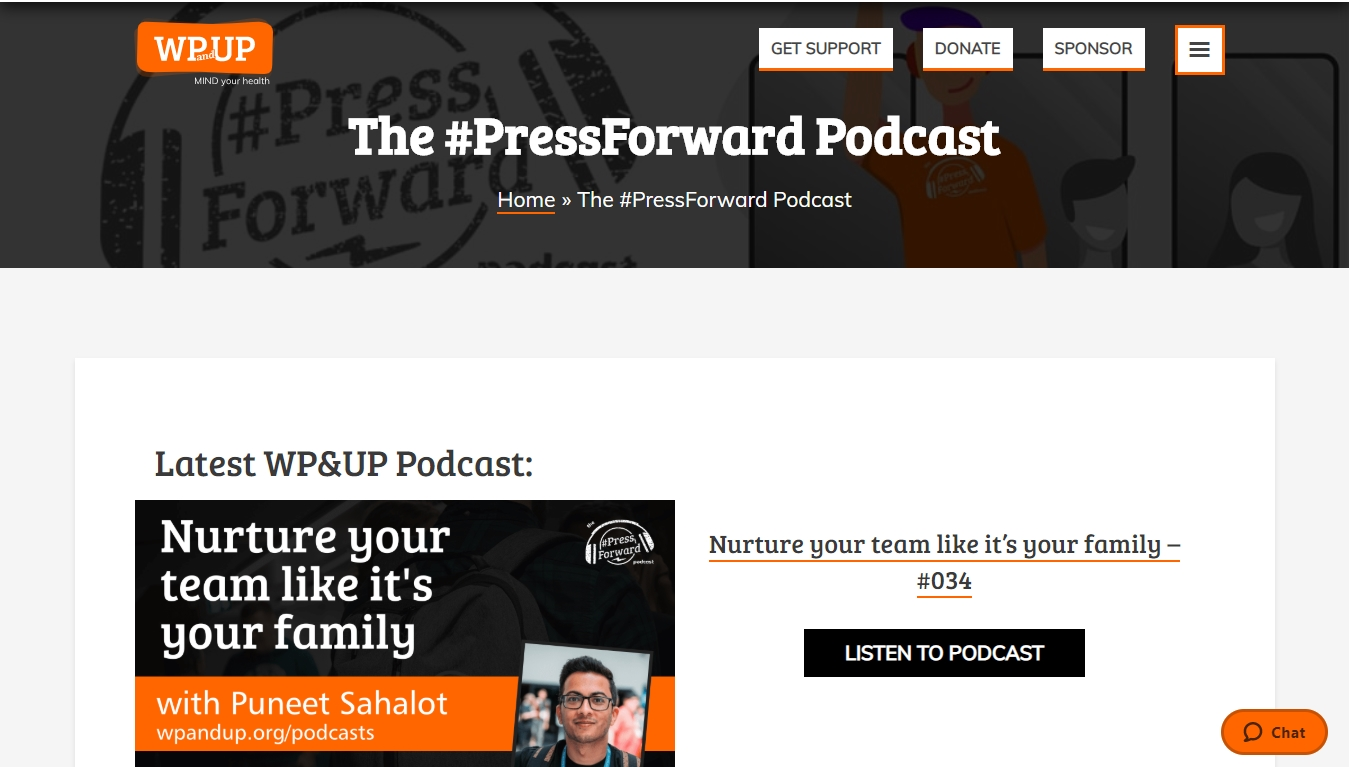 PressForward podcast homepage with the latest episode