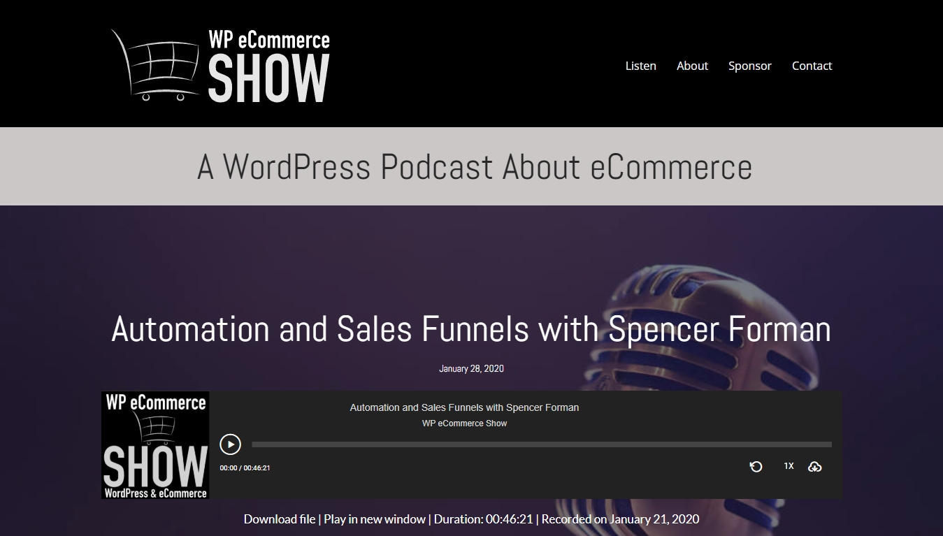 WP eCommerce Show  homepage with latest episode