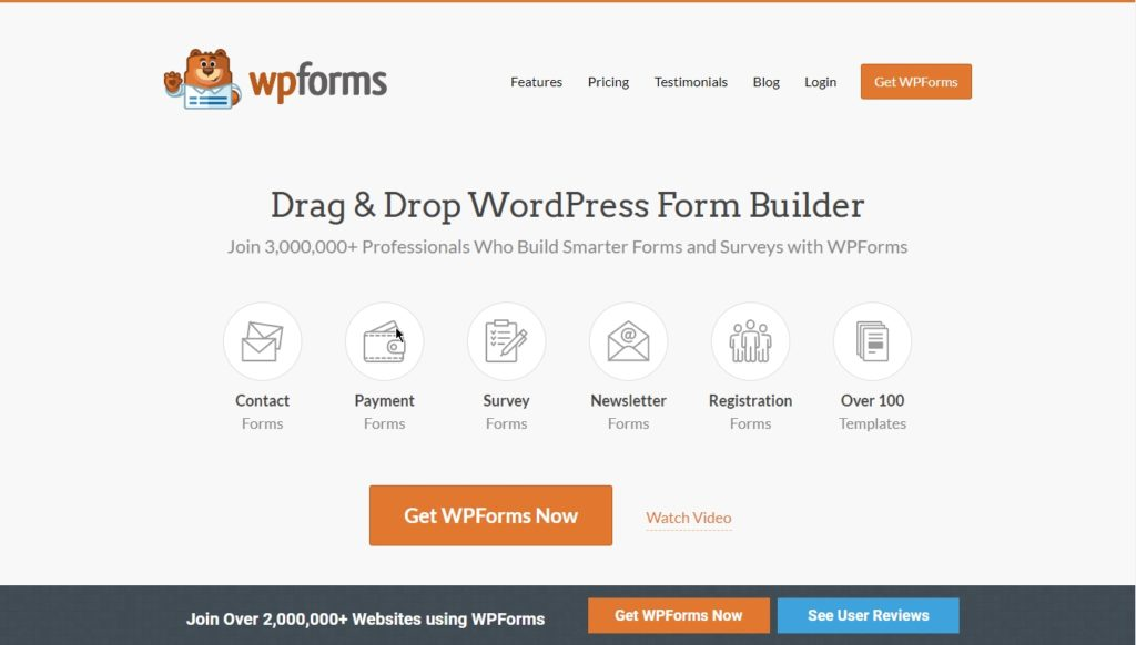 WP Forms download page