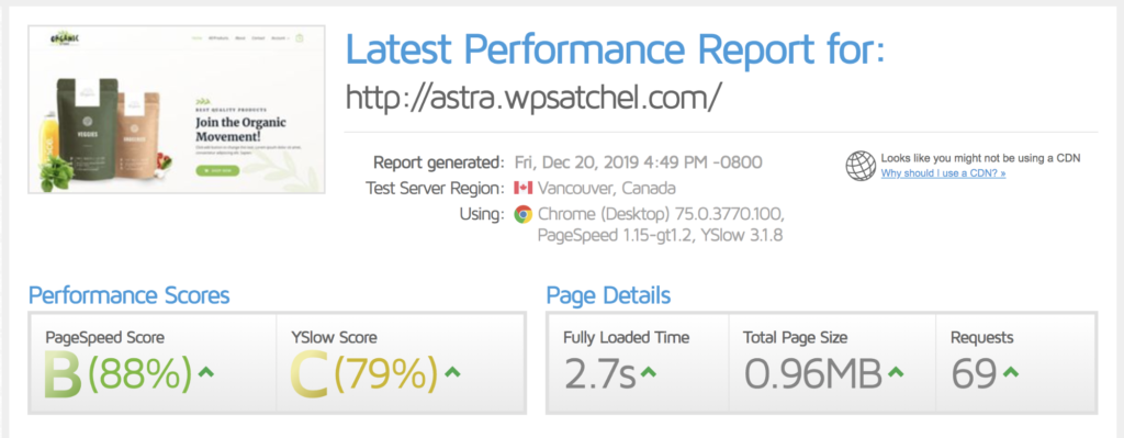 wp optimize speedtest results