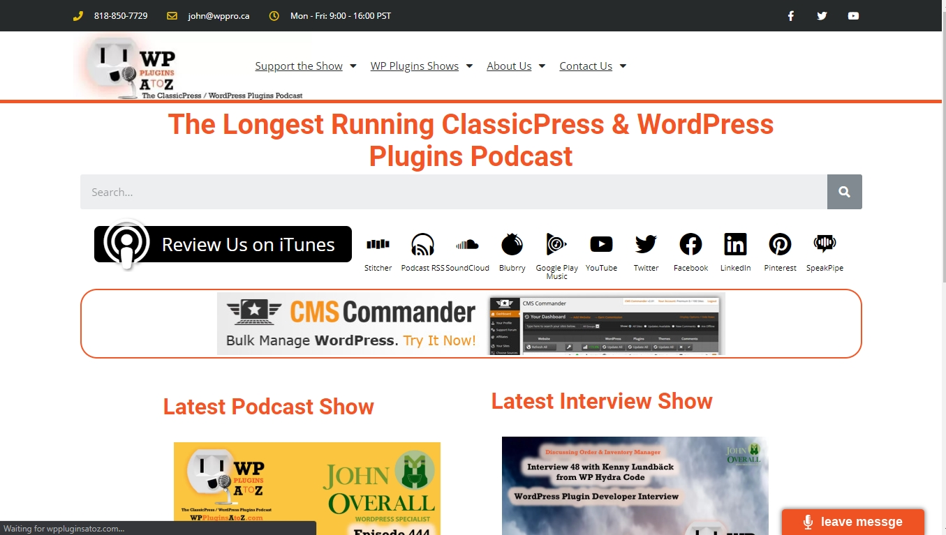WordPress Plugins from A to Z  homepage -  The Longest Running ClassicPress & WordPress Plugins Podcast