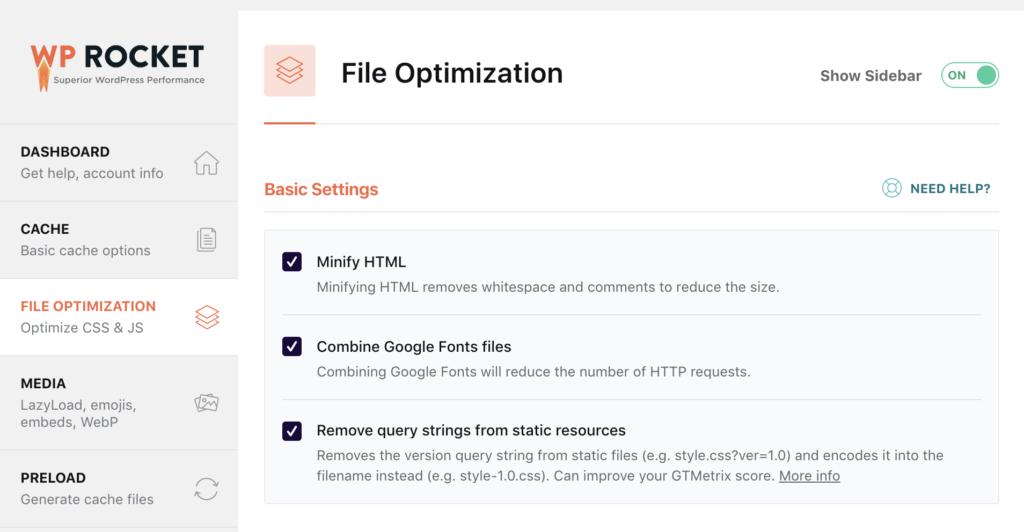 wp rocket file optimization back end settings