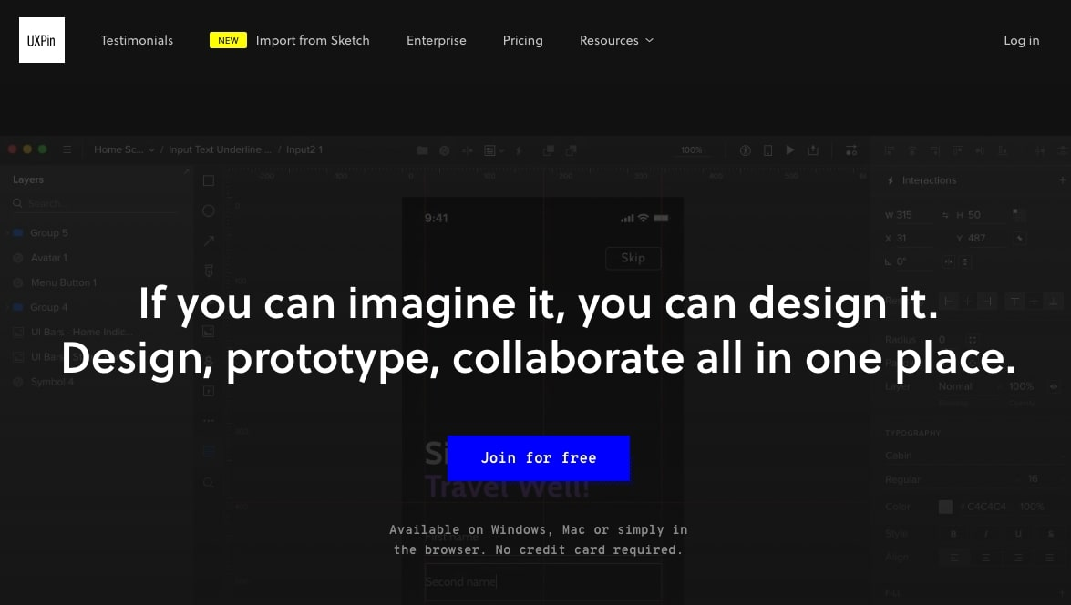 UX Pin homepage