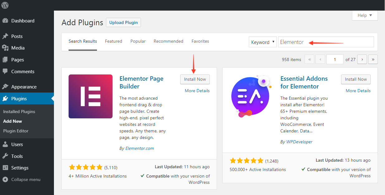 Adding Elementor plugin through plugin's page