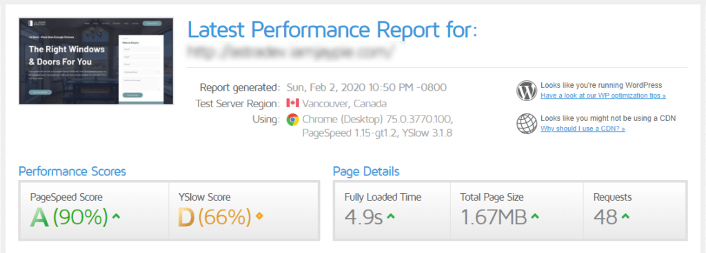speedtest results after caching plugin is installed