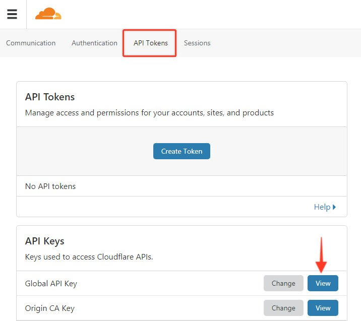 API tokens on cloudflare