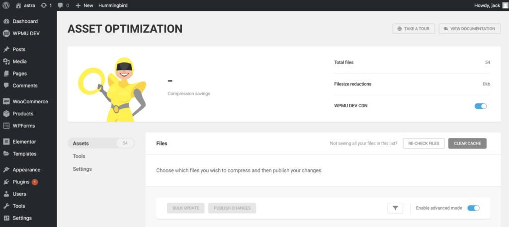 asset optimization dashboard with hummingbird