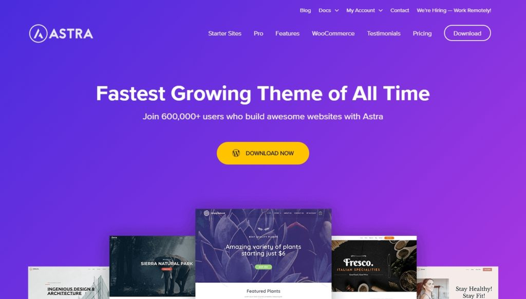 Homepage for Astra theme
