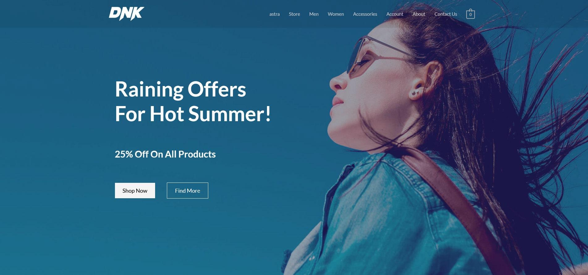 Astra WordPress starter site installed on Bluehost shared hosting