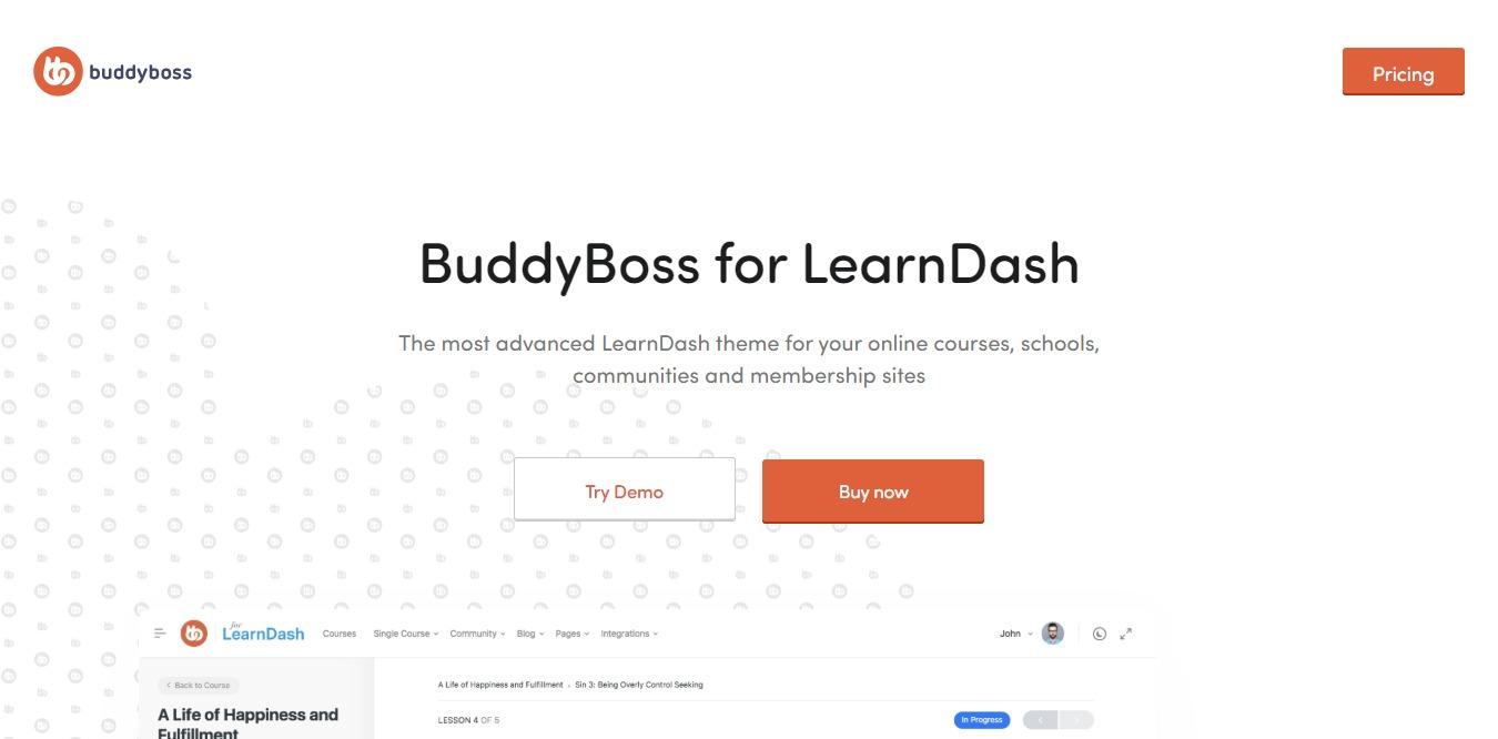 budyboss for learndash wordpress theme homepage