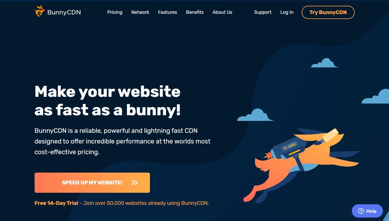 bunny cdn homepage screenshot