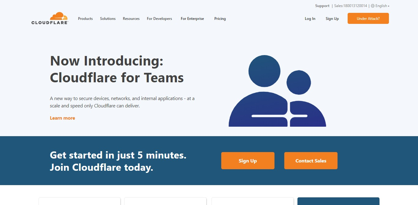 cloudflare cdn homepage screenshot