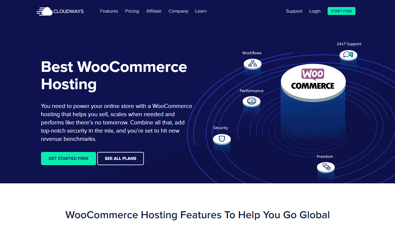 Cloudways WooCommerce hosting homepage screenshot