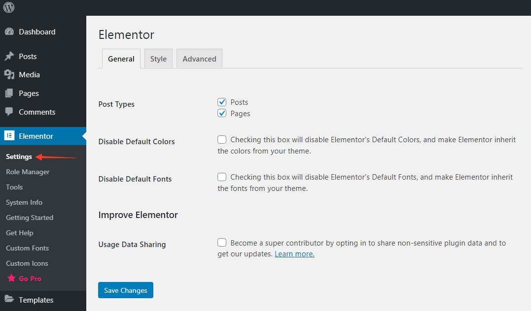 Elementor general settings - WordPress Dashboard