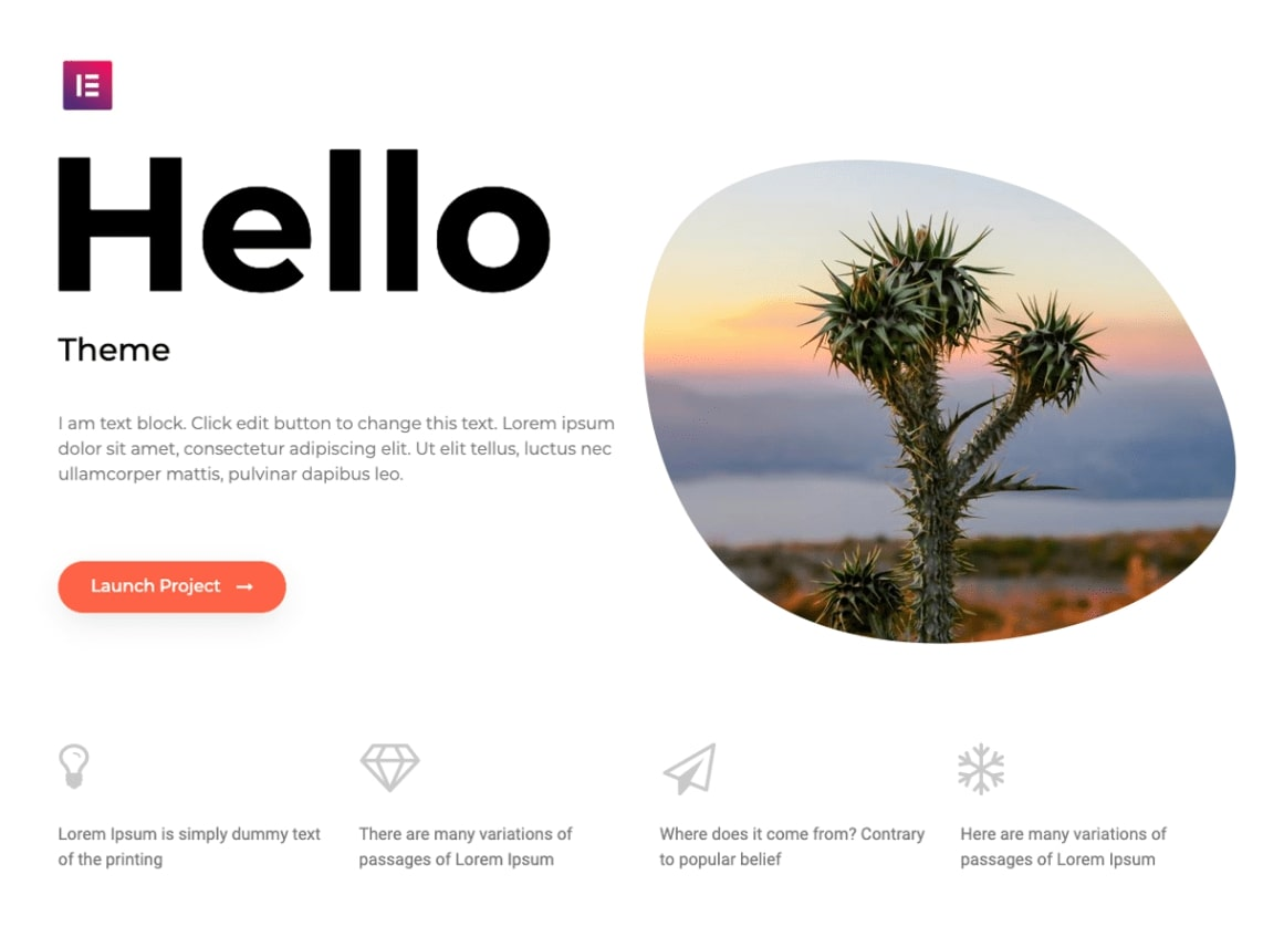 Elementor Hello theme homepage