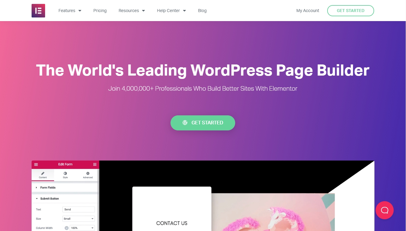 Homepage for Elementor - World's leading page builder