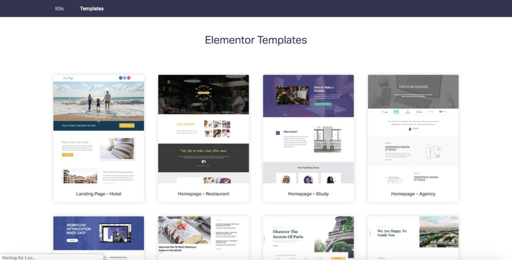 elementor starter templates