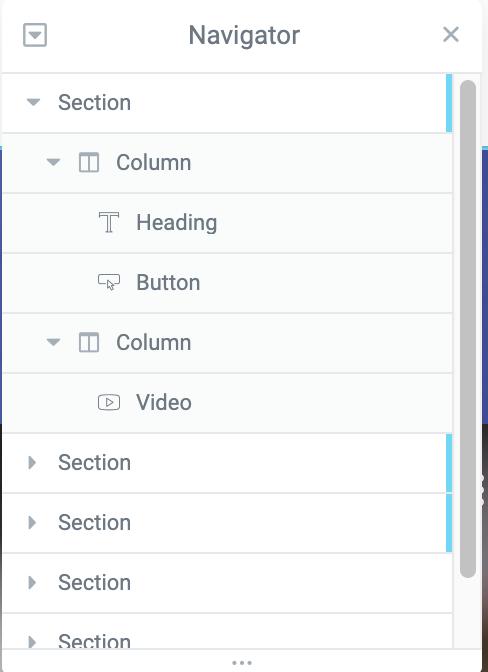 elementor navigator section