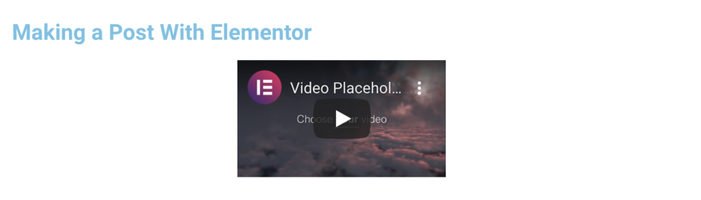 final output using the elementor page builder