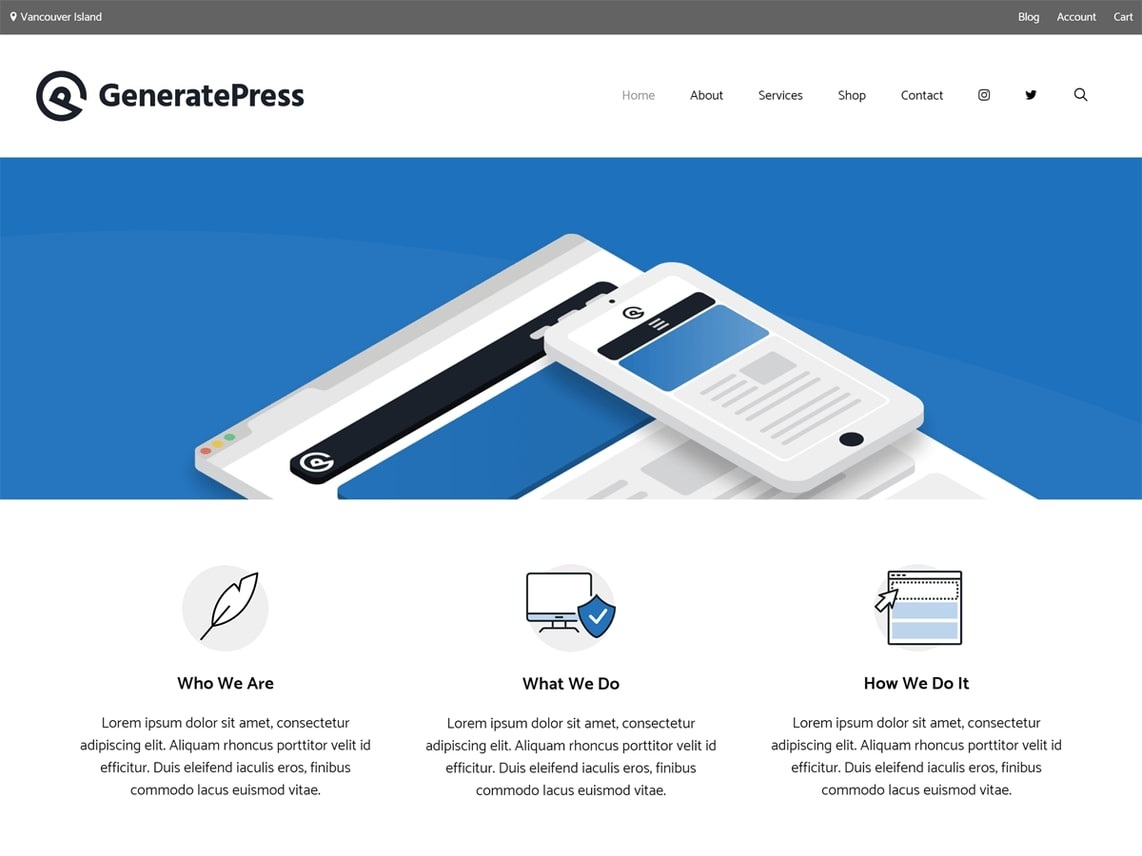 GeneratePress theme homepage