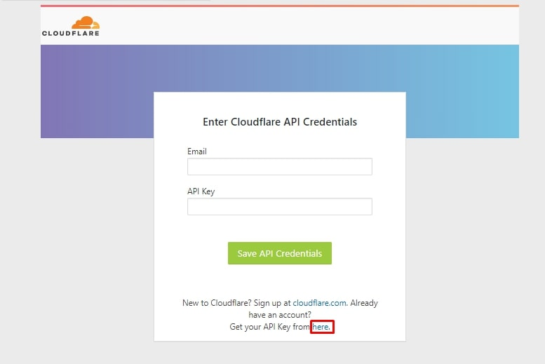 getting api key for cloudflare