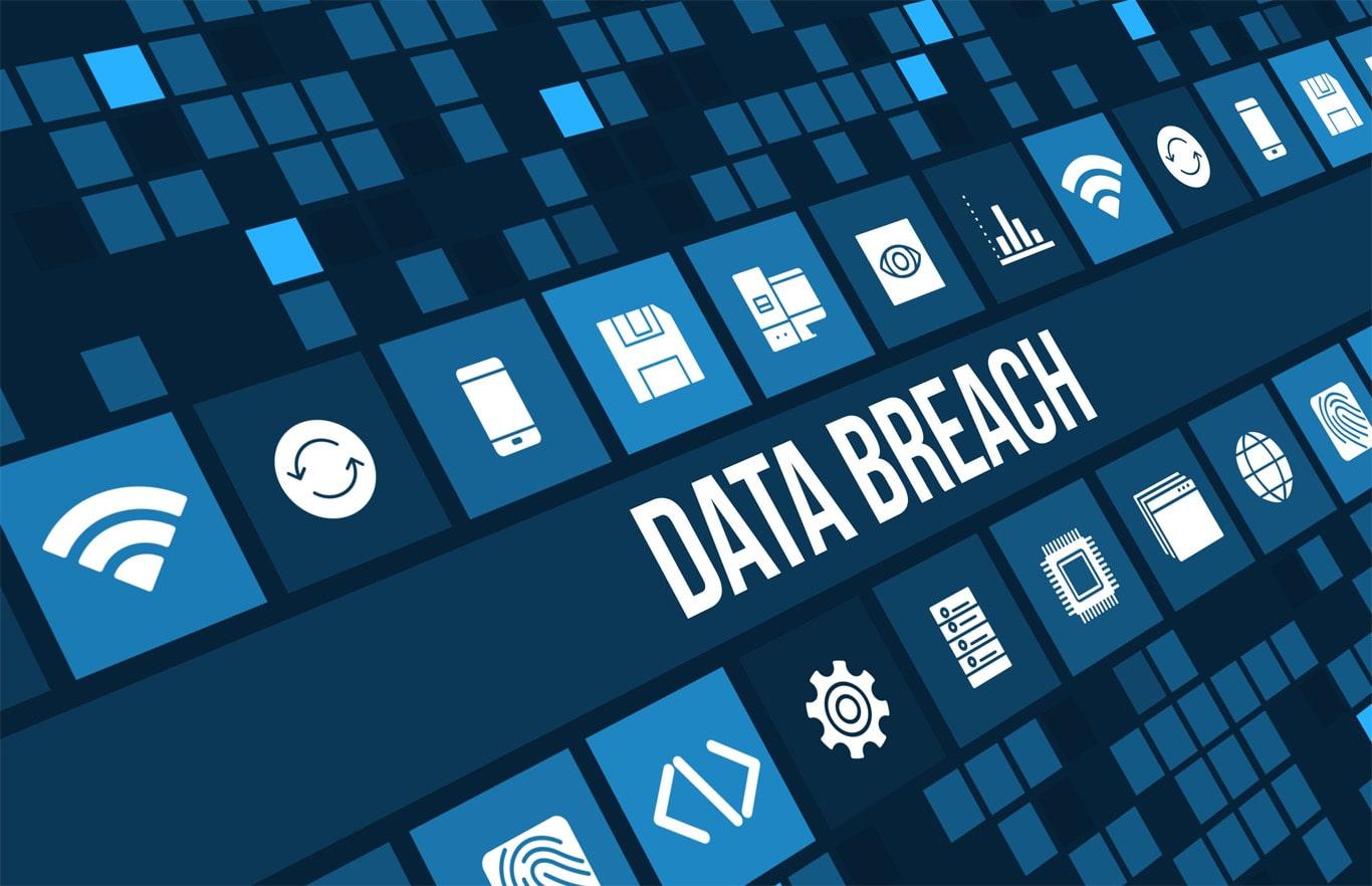 Graphic with 'DATA BREACH' written