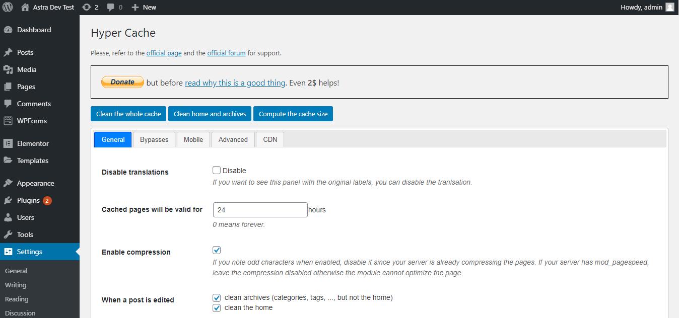 Hyper Cache settings menu from the WordPress dashboard