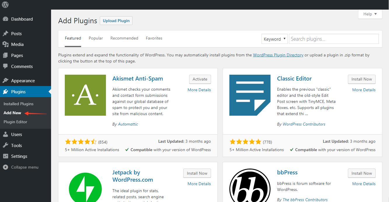 Location of add new plugin on WordPress dashboard