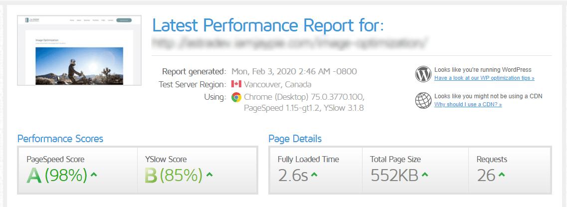 speedtest results after image optimization