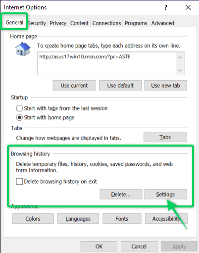 Clear cache settings on Internet Explorer