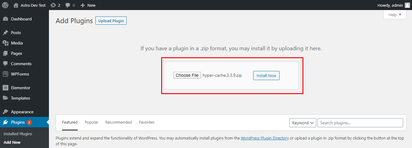Manually uploading the Hyper Cache plugin from the WordPress dashboard
