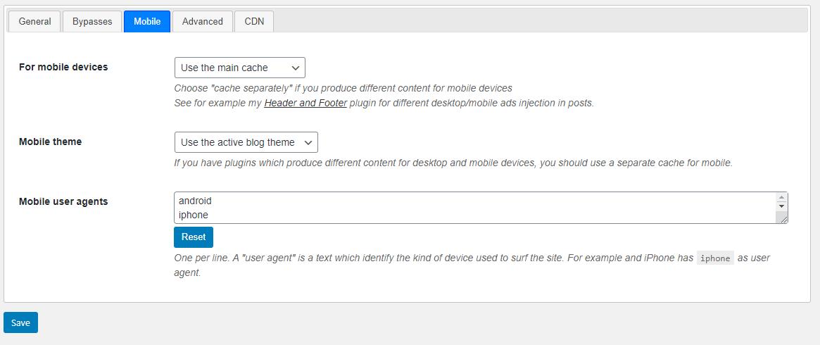 Mobile settings for Hyper Cache