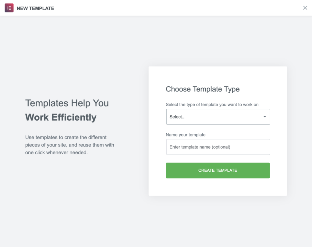 creating a new template welcome screen with elementor
