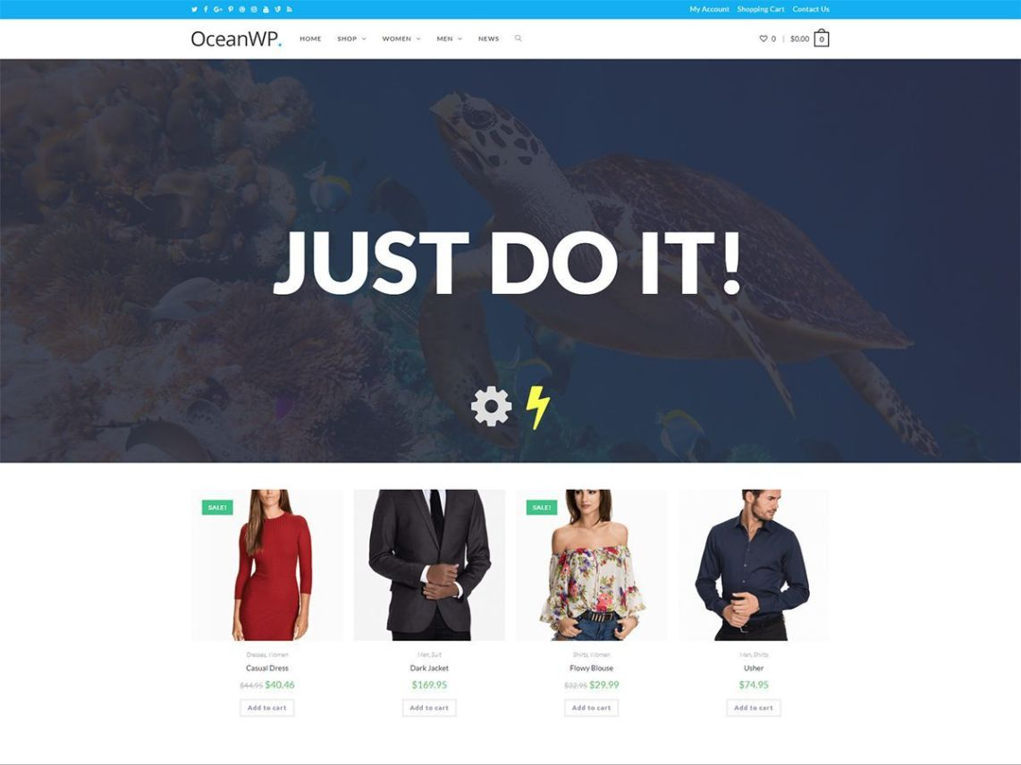 Ocean WP theme homepage