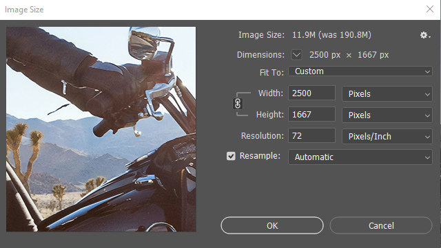 Photoshop settings for image resolution