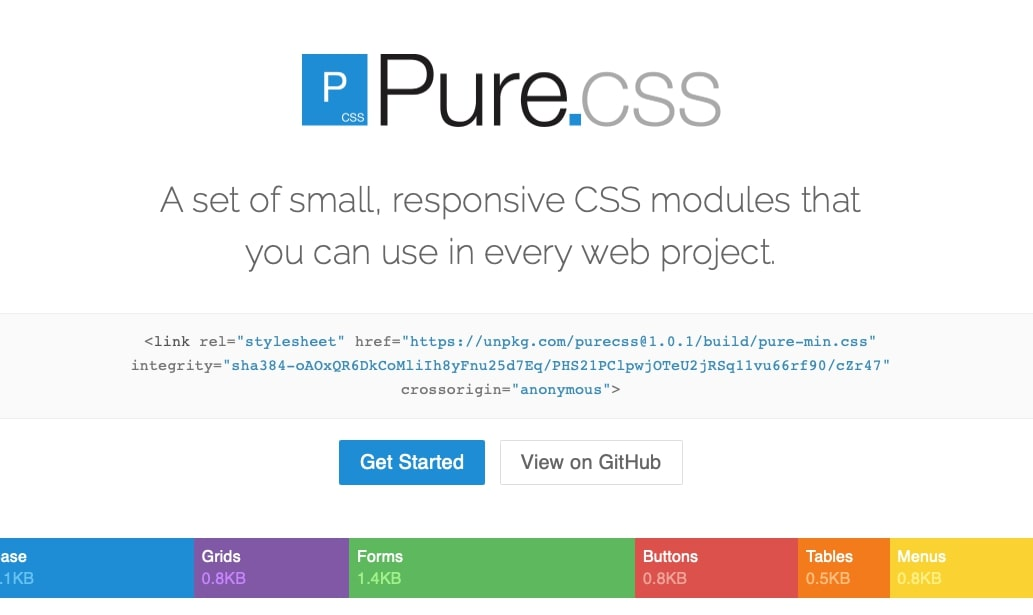 pure css homepage